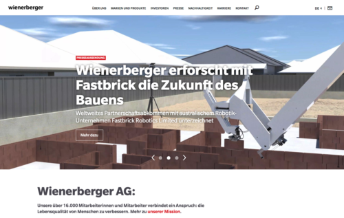 Die Website der Wienerberger AG
